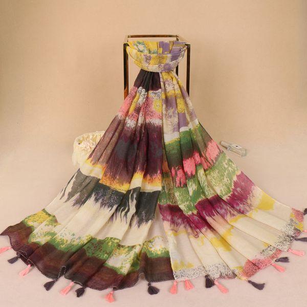 muslim hijab ladies printed gradients viscose scarf concise flower tassels Muffler pashmina women scarves/shawls 5pcs/lot LS353
