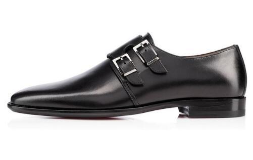 Yeni Varış Erkekler Siyah Deri Çift Keşiş Askısı Ayakkabı Lüks Parti Ziyafet Erkekler İngiliz Tarzı Moda Loafer'lar Ayakkabı