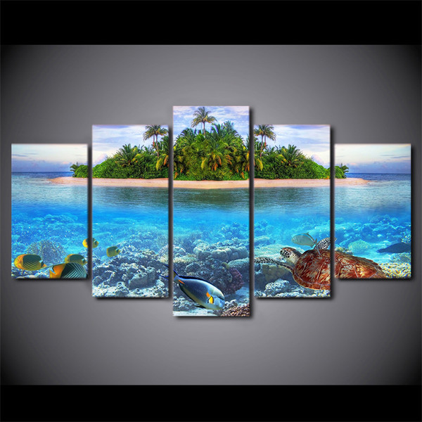 5 Piece Canvas Art HD Print Home Decor sea fish tree Paintings For Living Room Wall Poster Picture Free Shipping UP-2323B