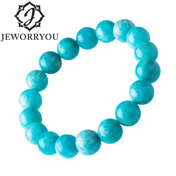 6-12mm Strand Bracelets For Women Amazonite Stone Beads Blue Unisex Bracelet Round Jewelry Making Mens Bracelets 2017 Fashion