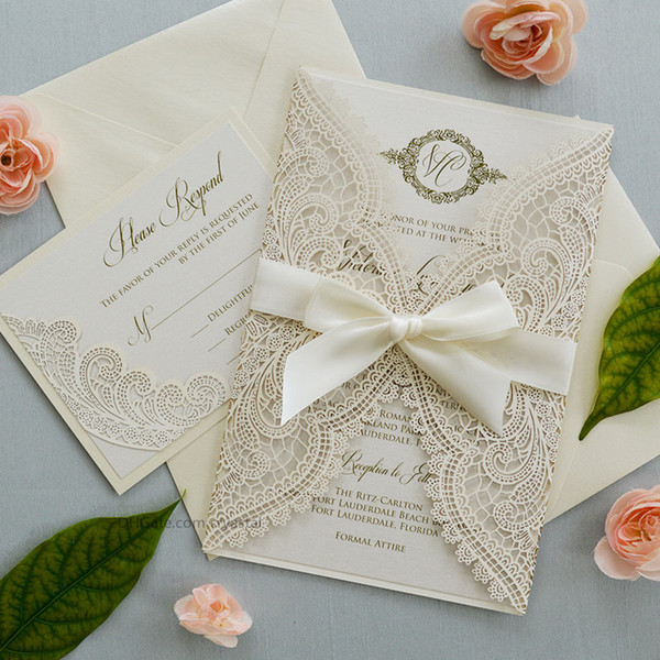 top popular Ivory Laser Cut Wedding Invitation with Ivory Shimmer Insert and Ivory Ribbon Bow, Laser Cut Wrap Invitation 2021