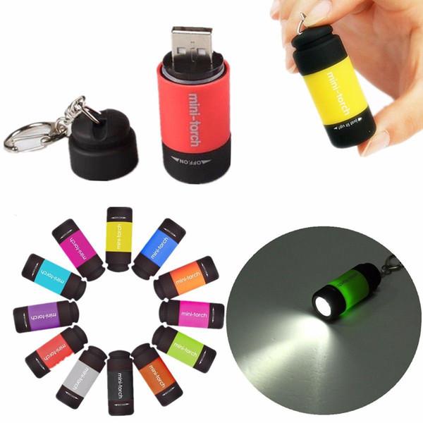 Nova 0.5 W Mini Keychain Tocha de Bolso USB Recarregável CONDUZIU a Lâmpada Lanterna Luz 0.3 W 25Lm Multicolor Mini-Tocha GGA222 50 PCS