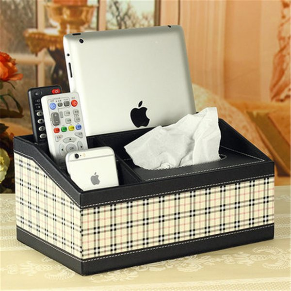 Leather Tissue Box Cover Car Towel Rack Office Home Tools Seat Type Creative Multifunction Storage Box Tissue Napkin QQP41