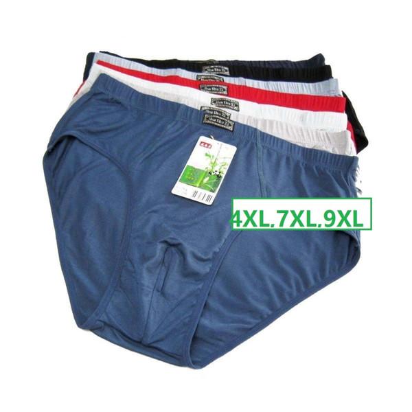 4XL,7XL,9XL Solid Briefs Mens Underwear Male panties Bamboo fiber comfortable breathable underwears 4pcs/lot