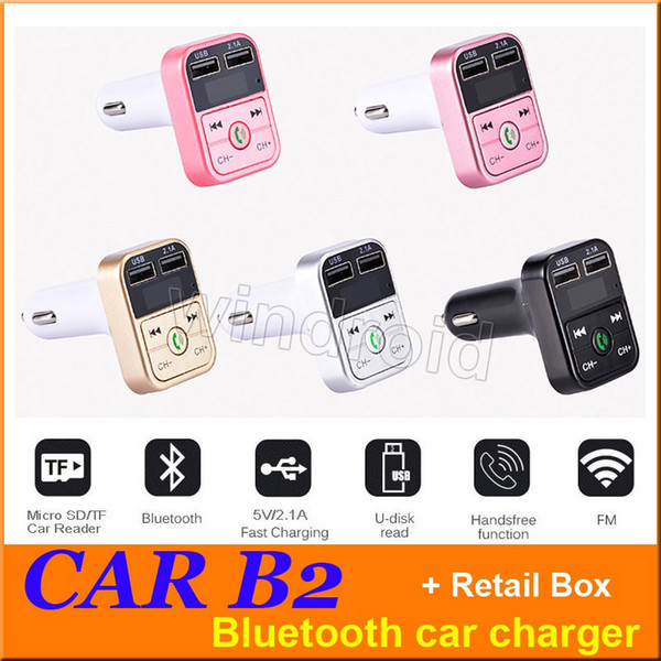 Günstigstes AUTO B2 Multifunktions Bluetooth Transmitter 2.1A Dual USB Auto-Ladegerät FM MP3 Player Car Kit Unterstützung TF-Karte Freisprecheinrichtung + Kleinkasten