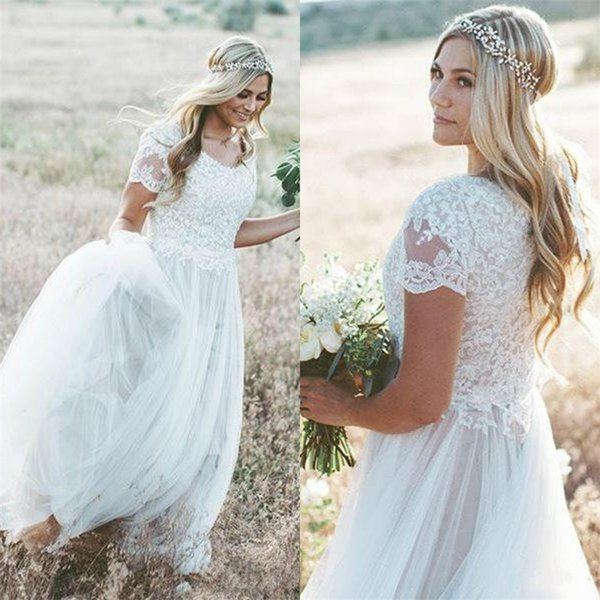 Новые пляж Boho свадебные платья 2018 с коротким рукавом плюс размер свадебные платья Богемия свадебные платья vestido де novia