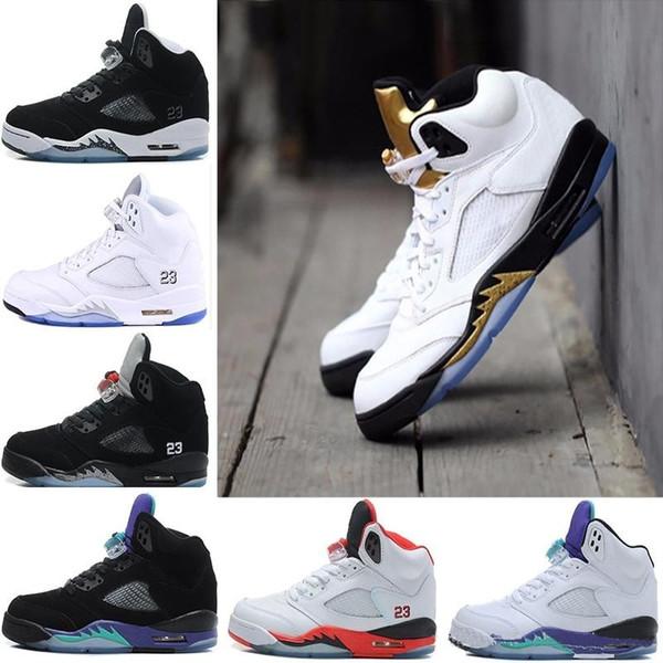 Compre 2018 Venta Caliente 5 V Zapatillas De Baloncesto 2017 Hombres Zapatillas 5s V Auténtico Deportes Zapatos Mujer Entrega Gratuita 8 13 Nike Air