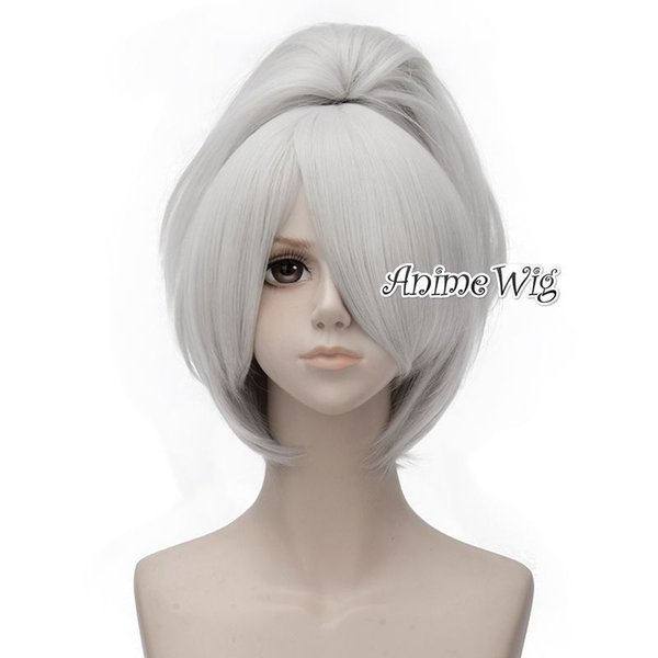 Anime Darker Than Black Yin 30cm Breve parrucca bianca in argento Cosplay + 50cm Coda di cavallo