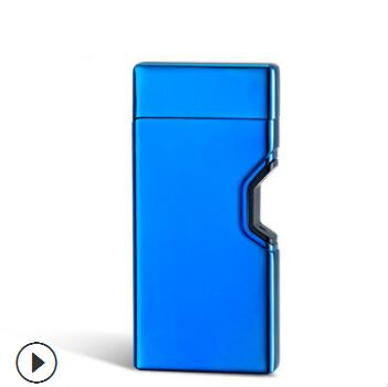 Double Arc USB Chargeable Metal Lighter Creative Electronic Lighters Windproof Cigarette Lighter With Gift Box Smoking Accessories