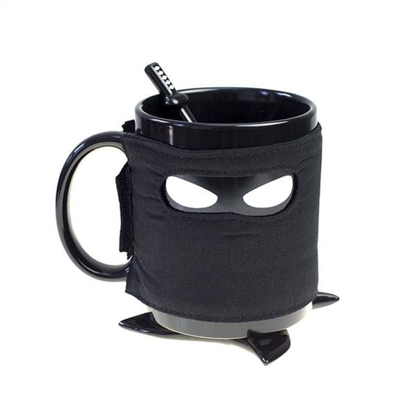 Creative Ninja Mug,Black Mask Ceramic Cup With Spoon Sword Coffee Milk Tea Mugs Milk Coffee Tea Cup Mugs Drop shipping