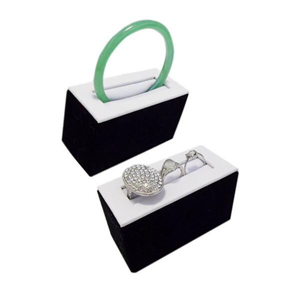 Commercio all'ingrosso 2Pcs / lotto espositore gioielli braccialetto anello anello braccialetto titolare organizzatore supporto bianco e nero braccialetto 8.5 * 4 * 5.3 cm
