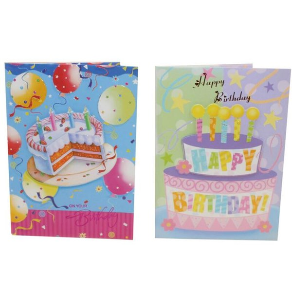 6 Pcs Lot Birthday Cake Pattern Blessing Greeting Card Thank You Folding Happy