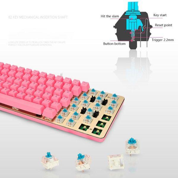 Beyaz Arka Mekanik Klavye Mavi Anahtarı PBT 82 Tuşları Kablolu USB Klavye