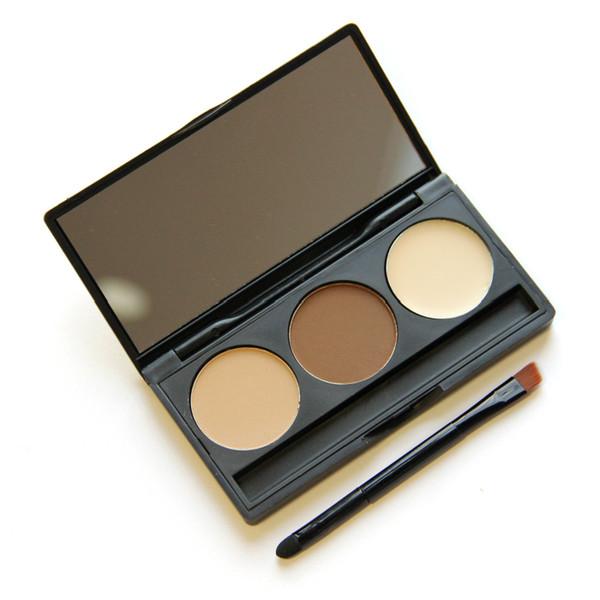 Professional No label 3 Colors Eyebrow powder Eyes Makeup Kit Waterproof Eye Brow Gel Make Up eyebrow palette eyebrow Enhancers with brush
