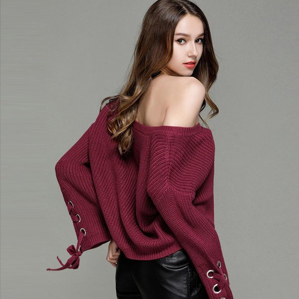 Jastie Lace up Flare Sleeve O-Neck Pullover Top Loose Casual Women Sweater Solid Color Knitted Sweaters Jumper Pull Femme Top