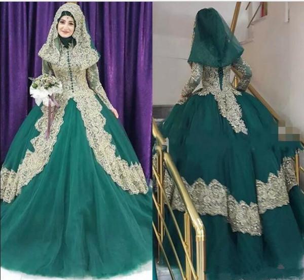 2018 Hunter Green Wedding Dress Bridal Gowns Couture Robe De Mariage Gold Applique Hijab Dubai Kaftan Muslim bridal dress vestidos de fiest