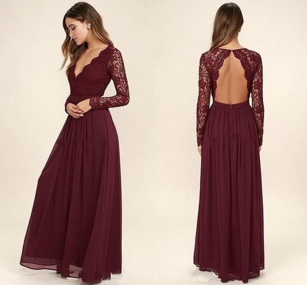 Bordo Şifon Gelinlik Modelleri Uzun Kollu Batı Ülke Stil V Boyun-Backless Uzun Plaj Dantel Üst Düğün Elbiseleri Ucuz