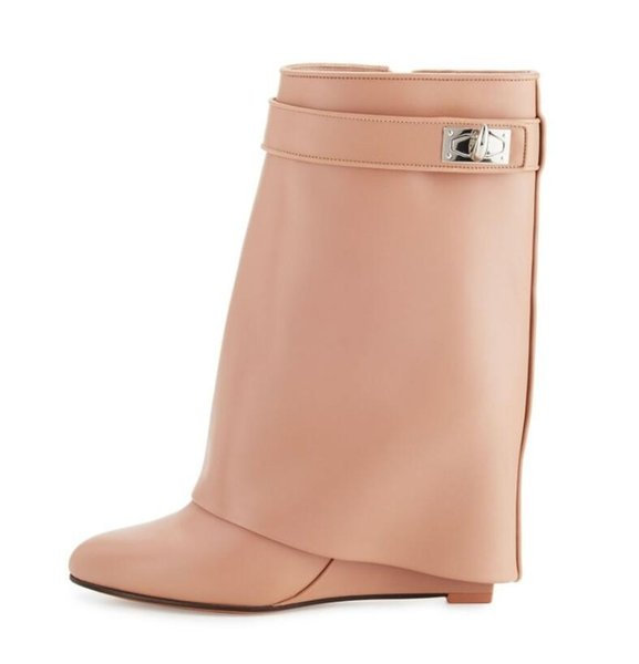 3493a9639 2018 new winter women beige pink leather boots fashion ladies mid calf  Booties buckle half boots