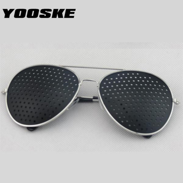 YOOSKE Retro Pinhole Sonnenbrille für Frauen Männer Kleine Löcher Brillen Vision Care Brille Unisex Sehvermögen Improver Gläser