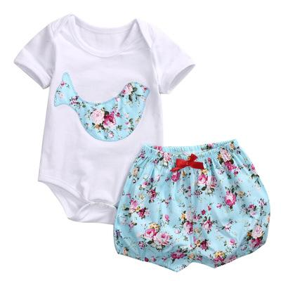 2018 Summer Newborn Baby Clothing Floral Printed Short Sleeve Romper Tops+Short Pants 2Pcs Sets Outfits Infant Kids Girls Clothes Set 2Style