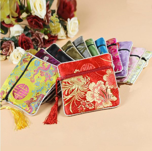 11.5x11.5CM Small Silk Fabric Zip Gift Packaging Bags Jewellery Storage Pouches vintage floral China Coin Purse ,mixed color