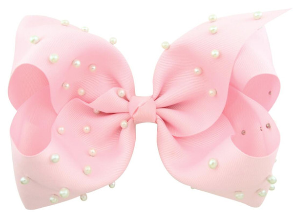 """free shipping 30pcs 8"""" Large pearl boutique Bow With Hair Clip big hair bows Girls Kids Handmade Hair Bow"""