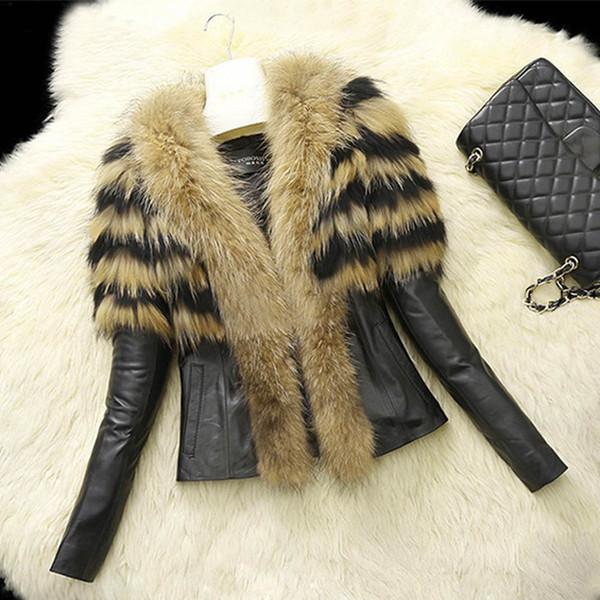 S-XL Mujeres Chaquetas y abrigos de piel sintética de PU de piel sintética Chaquetas de piel de invierno de otoño Abrigos de cuello largo de mapache