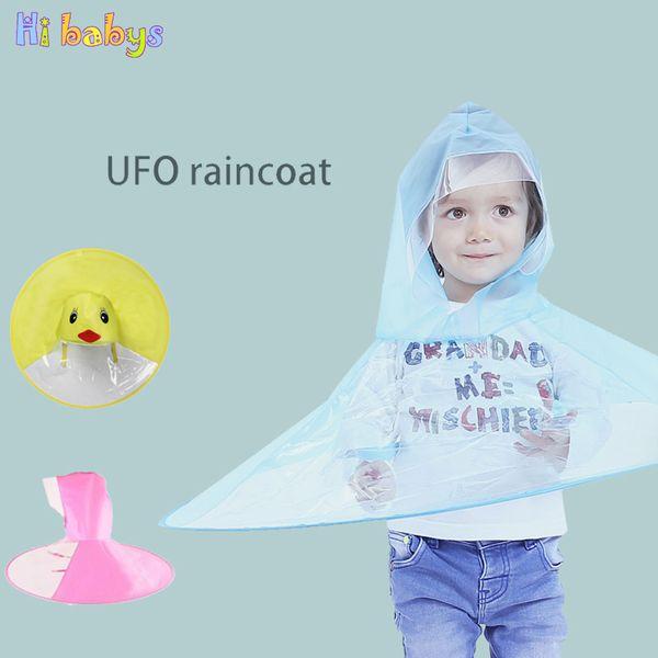 Children UFO Raincoat Foldable Headwear Kids Cartoon Poncho Portable Rain Hat Cover Transparent Headwear Outdoor Play Umbrella