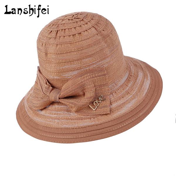 Women Sun Hat Cotton Large Brim Bowknot Ladies Summer Outdoor Sun Hats LOVE letter Breathable Fashion Beach Cap Chapeau Femme