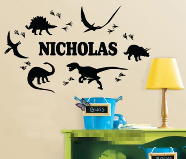 Dinosaur Footprint Custom Personalized Name Wall Sticker Boy Decal Nursery Decor Wall stickers for kids room Boys 65*120 cm