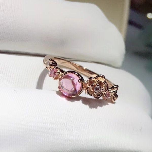 Fashion Simple 18K Rose Gold Created Gemstone Hibiscus Stone Wedding Engagement Flower Ring Size 5 - 12