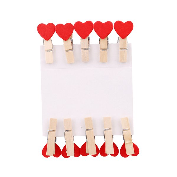 10pcs/lot Wooden Clip Photo Paper Craft Colorful Mini Heart Shape Craft Clips DIY Clothes Paper Peg Clothespin YL892700