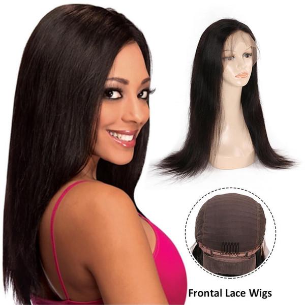 Schönheit auf Linie Menschenhaar Front Lace gerade Perücke Weave schwarz weiße Frau Remy Vrigin natürliche Farbe peruanische Perücken Großhandelspreis