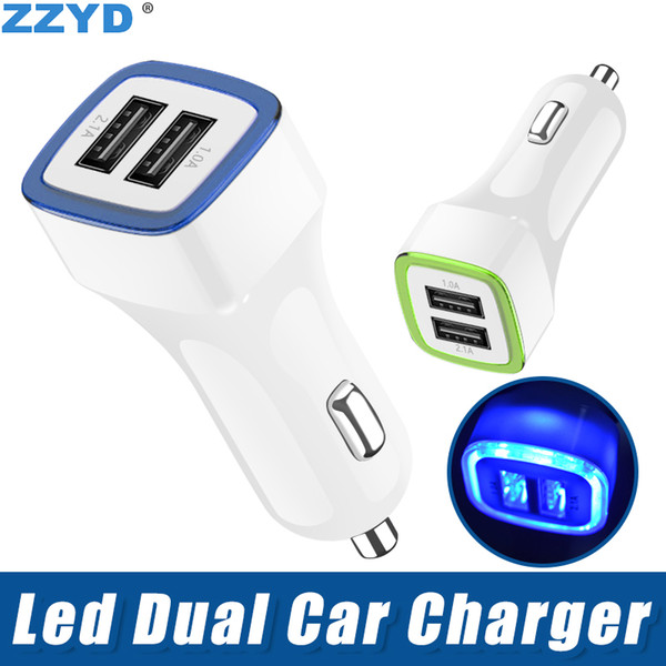 best selling ZZYD LED Dual Usb Car Charger Vehicle Portable Power Adapter 5V 1A For Samsung S8 Note 8 iPX
