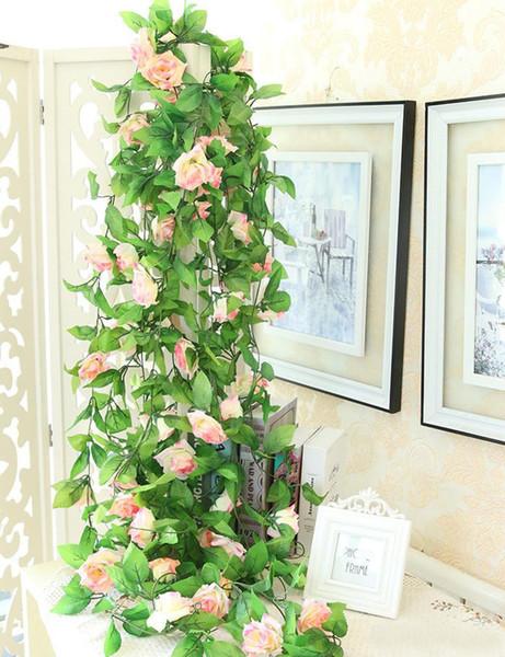 245cm Artificial Fake Silk Rose Flower Vine Hanging Garland Wedding Home Decor