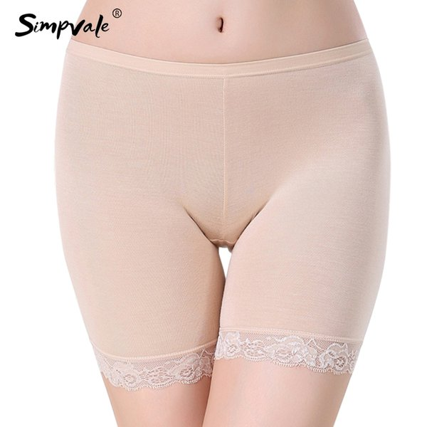 SIMPVALE Preventing Wardrobe Malfunction Lace Breathable Safety Short Pants White Black Fleshcolor