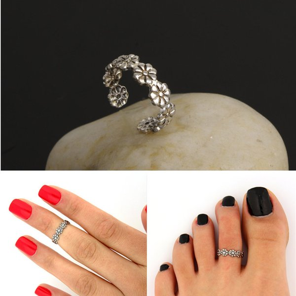 Knock Vintage Small Daisy Flower Joints Ring Beach Jewelry Retro Carved Adjustable Toe Ring Foot Women Jewelry