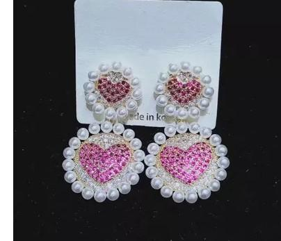 noble zircon diamond crystal beads circle 925 noble zircon diamond crystal double lover heart silver women's earings silver women's earings