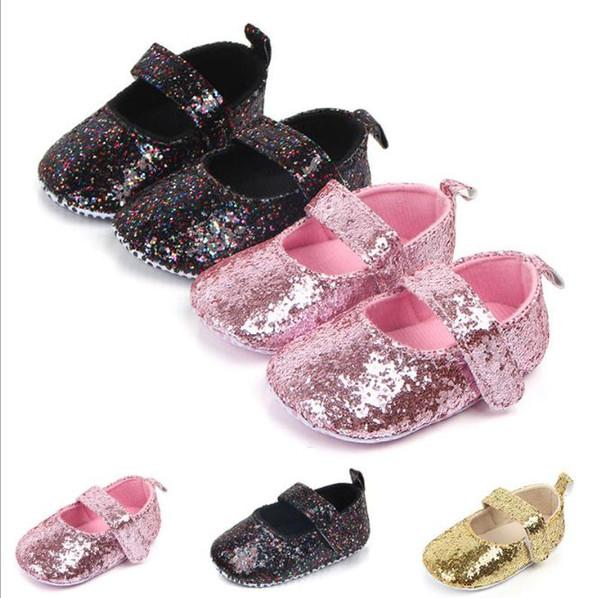 Mode Bébé Filles Chaussures De Bébé Mignon Nouveau-Né Premier Marcheur Chaussures Brillant Infant Princesse Semelle Souple Fond Anti-slip chaussures