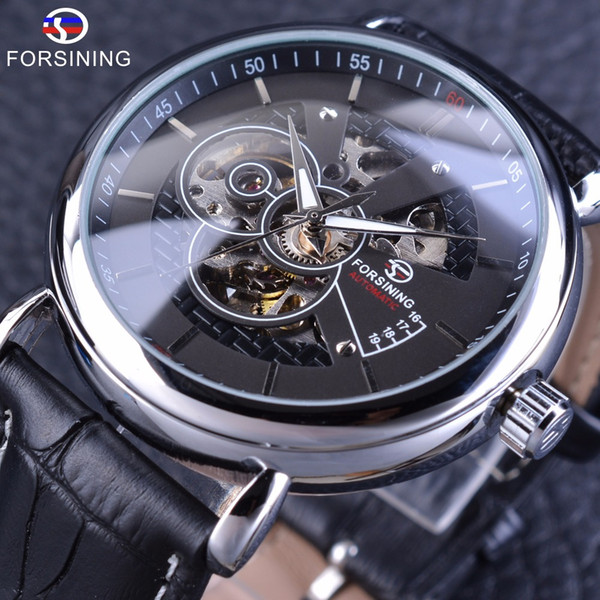 x Forsining Silver Black Military Fashion Automatic Wrist Watch Men Watches Top Brand Luxury Genuine Leather Belt Mechanical Clock