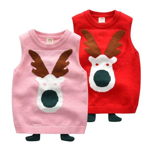 Baby girls Christmas deer elk Sweaters children Tops Xmas cartoon Vest 2018 Autumn Winter fashion kids Clothing C5366