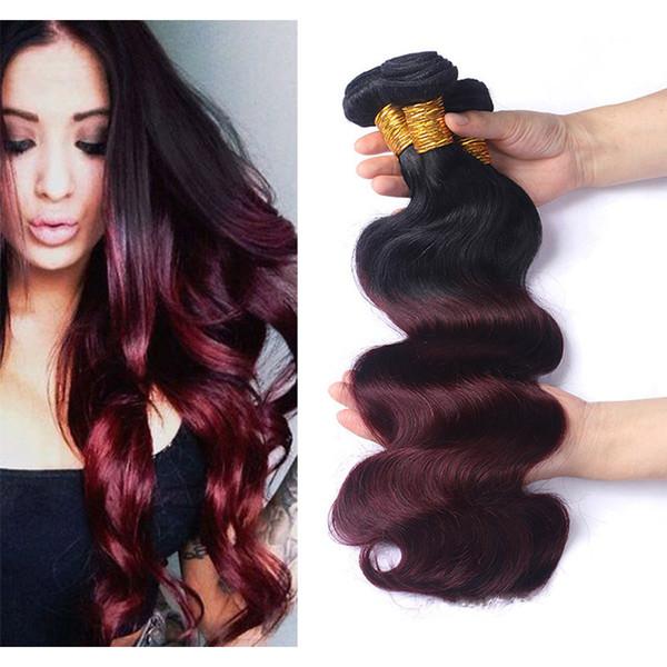 Burgundy Ombre Hair 1B / 99J # Body Wave 3 paquetes Grado 8A Malayo Peruano Vino brasileño Rojo Ombre Remy El cabello humano teje extensiones