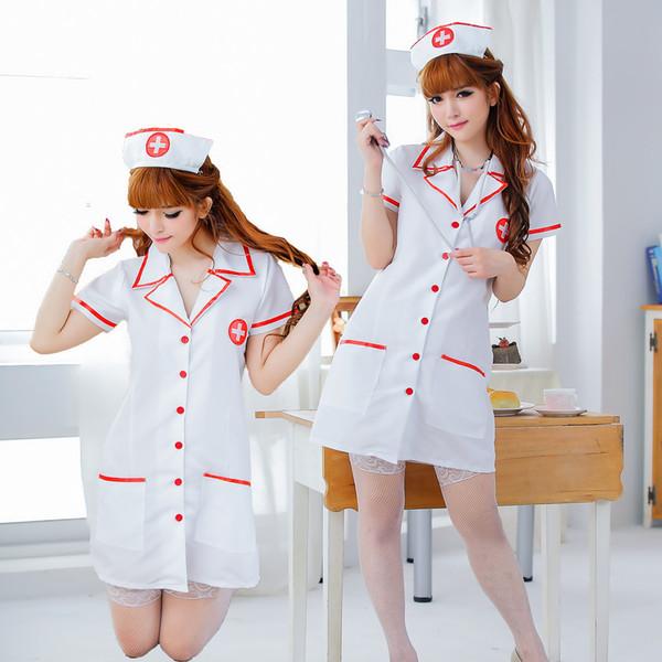 Costume d'infirmière sexy Fantasias Hot Lingerie Sexy Cosplay érotique pour femmes Costume d'infirmière Tentation Robe à col en V