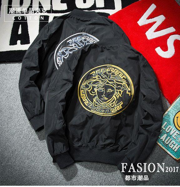 Brand Design Medusa Bomber Jackets for Men Men's Long Sleeve Embroidery Flight Jackets Hip Hop Streetwear Fashion Windbreak Ma1 Bomber Coat