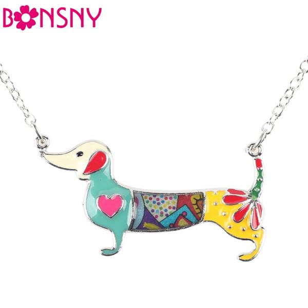 Statement Metal Alloy Enamel Dachshund Dog Necklace Pendant Chain Collar Fashion Animal Jewelry For Women Girls Wholesale