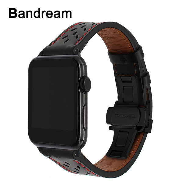 Italy Genuine Calf Leather Watchband Apple Watch 38mm 42mm Series 1 2 3 Band Steel Butterfly Buckle Strap Bracelet