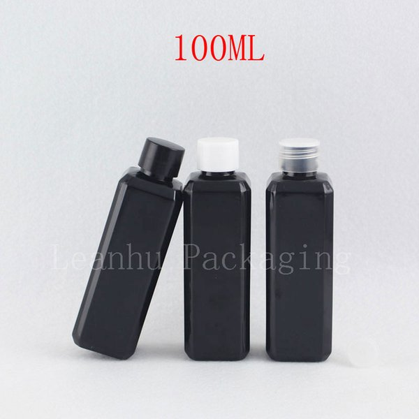 100ml X 50pc Empty Black Square Cosmetic Bottles With Screw Cap 100cc Liquid Plastic Container With Stopper DIY Lotion Bottle