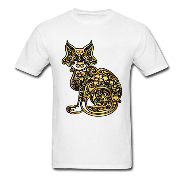 Golden Cat Tshirts Steampunk Coupons Men's Lovers Day Tops T Shirt Sweatshirts Men Round Neck 100% Cotton Clothes Outfit