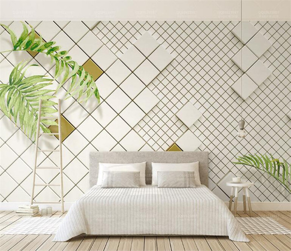 Custom Mural 3D Wall Paper Nordic Vintage Hand Painted Leaves Abstract Mural Living Room Bedroom TV Background Papel De Parede