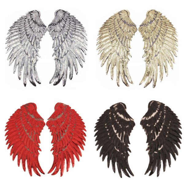 32CM Sew Sequins Patches Wings Silver Gold Red Black Patch Badges For Bag Jeans Hat T Shirt DIY Appliques Craft Decoration